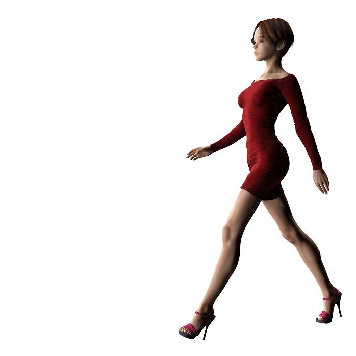 女性がハイヒールで綺麗な姿勢で歩いているグラフィック